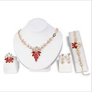 Χαμηλού Κόστους -Γυναικεία Κλασσικό Κοσμήματα Σετ Επιχρυσωμένο Βίντατζ Περιλαμβάνω Κρεμαστά Σκουλαρίκια Κρεμαστά Κολιέ Band Ring Βραχιόλι Νυφικό κόσμημα σετ Κόκκινο / Πράσινο Για Πάρτι Αργίες