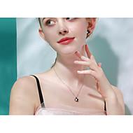 저렴한 -여성용 목걸이 S925 스털링 실버 블랙 40+3 cm 목걸이 보석류 1 개 제품 일상 애인