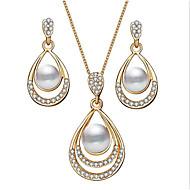 Γυναικεία 3D Κοσμήματα Σετ Απομίμηση Μαργαριταριού, Στρας Αχλάδι, Φτηνός Στυλάτο, Κλασσικό, Κομψό, φαντασία Περιλαμβάνω Κρεμαστά Σκουλαρίκια Κρεμαστά Κολιέ Χρυσό / Ασημί Για Δώρο Καθημερινά
