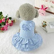 Köpekler Elbiseler Köpek Giyimi Kareli Fiyonk Düğüm Mavi Pembe Terylene Kostüm Uyumluluk Corgi Beagle Bulldog Bahar Yaz Bayan Sweet Style Klasik Stil