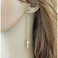 저렴한 -여성용 크리스-크로스 드랍 귀걸이 귀걸이 십자가 세련 단순한 보석류 골드 / 실버 제품 일상 1 쌍
