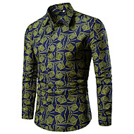 baratos -Homens Camisa Social Estampado, Geométrica / Quadriculada / Gráfico