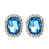 저렴한 -여성용 블루 크리스탈 스터드 귀걸이 귀걸이 은 도금 모조 다이아몬드 귀걸이 세련 예술적 단 보석류 네이비 블루 제품 파티 약혼 홀리데이 1 쌍