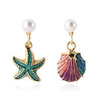 Χαμηλού Κόστους -Γυναικεία Κρεμαστά Σκουλαρίκια Ασύμφωνα σκουλαρίκια Απομίμηση Μαργαριταριού Όστρακο Σκουλαρίκια Φύση Τροπικό Κοσμήματα Χρυσό Για Γάμου Πάρτι Καθημερινά Δρόμος Δουλειά 1 Pair