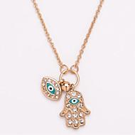 저렴한 -여성용 롱 목걸이 모조 다이아몬드 눈 손 민속 스타일 골드 실버 45+7 cm 목걸이 보석류 1 개 제품 일상