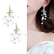 levne -Dámské Visací náušnice Napodobenina perel Umělé diamanty S925 Sterling Silver Náušnice Šperky Zlatá Pro Denní 1 Pair