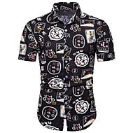 cheap -Men's Shirt - Geometric / Color Block / Paisley Print Black XXXL