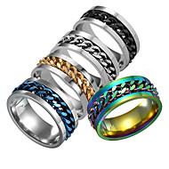 Χαμηλού Κόστους -Ανδρικά Δαχτυλίδι Ανοξείδωτο Ατσάλι Μοδάτο Δαχτυλίδι Κοσμήματα Ασημί / Ουράνιο Τόξο / Μπλε Για Καθημερινά Φεστιβάλ
