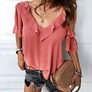 billige -Dame - Ensfarvet Bluse Hvid L