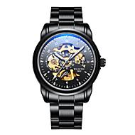 levne -Pánské mechanické hodinky Mechanické manuální natahování Nerez Černá 30 m Voděodolné S dutým gravírováním Svítící Analogové Módní Kostra - Černá Černobílá Černá / Modrá