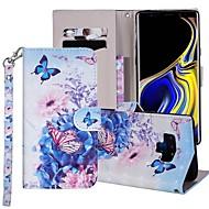preiswerte -Hülle Für Samsung Galaxy Note 9 Geldbeutel / Kreditkartenfächer / mit Halterung Ganzkörper-Gehäuse Schmetterling / Blume Hart PU-Leder für Note 9