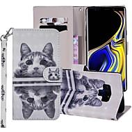 preiswerte -Hülle Für Samsung Galaxy Note 9 Geldbeutel / Kreditkartenfächer / mit Halterung Ganzkörper-Gehäuse Katze Hart PU-Leder für Note 9