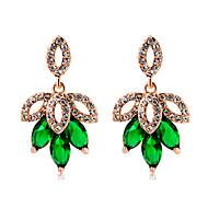 levne -Dámské Zelená Křišťál Klasika Visací náušnice Pozlacené Umělé diamanty Náušnice stylové Módní Moderní Šperky Zelená Pro Denní 2pcs