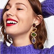 billige -Dame Krystal Oval Dråbeøreringe dingle øreringe Øreringe Simple Europæisk Mode Moderne Smykker Regnbue Til Fest Daglig Gade Arbejde 1 Par