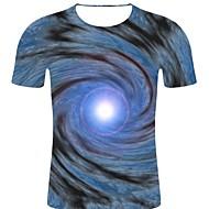 billige -T-skjorte Herre - Stripet / 3D / Grafisk, Trykt mønster Rock / overdrevet Blå XXL