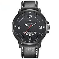 levne -HANNAH MARTIN Pánské Sportovní hodinky Japonské Quartz Kůže Černá Voděodolné Analogové Na běžné nošení - Bílá Kávová Černá / červená Jeden rok Životnost baterie