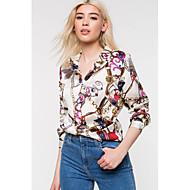 billige -Dame - Grafisk Skjorte Hvid M