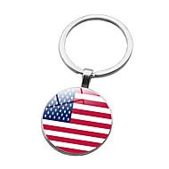 رخيصةأون -علم العلم الأمريكي سلسلة المفاتيح فضي زجاج سبيكة أوروبي من أجل هدية مهرجان