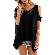 cheap -Women's Date Casual / Daily Basic T-shirt - Solid Colored Black US14