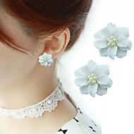 abordables -Boucles d'oreille Clou Femme Classique Imitation de perle Fleur Elégant simple Bagues Tendance Bijoux Blanc Mignon Cool Adorable pour Quotidien Travail 1 paire