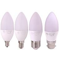billige -1pc 3 W LED-lysestakepærer 240-270 lm E14 B22 E12 10 LED perler SMD 2835 Varm hvit Hvit 12-24 V