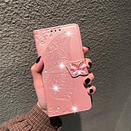 povoljno -Θήκη Za Huawei P20 Pro / Huawei P30 Lite Novčanik / Utor za kartice / Štras Korice Rukav leptir / Cvijet Mekano PU koža za Huawei P20 / Huawei P20 Pro / Huawei P20 lite