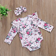 cheap -Baby Girls' Active / Basic Floral Long Sleeve Romper Blushing Pink