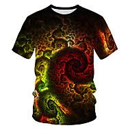 povoljno -Veličina EU / SAD Majica s rukavima Muškarci - Osnovni / Ulični šik Ležerno / za svaki dan Galaksija / Color block / 3D Okrugli izrez Print Duga / Kratkih rukava