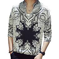 voordelige -Heren Street chic / Elegant Print Overhemd Geometrisch / Grafisch Zwart US38
