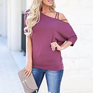 billige -T-skjorte Dame - Ensfarget, Åpen rygg Gatemote / Elegant Svart US10 / UK14 / EU42
