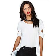 billige -T-skjorte Dame - Ensfarget, Utskjæring Grunnleggende Hvit US2 / UK6 / EU34