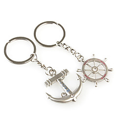 Rudder and Anchor Shaped Metal Keychain, Pair