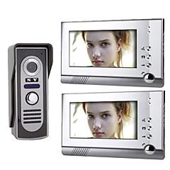 abordables Alarmas y Seguridad-7 pulgadas a color TFT LCD de vídeo puerta de teléfono del sistema (1 cámara con 2 monitores)