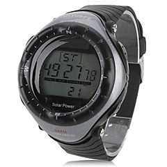 Men's Sport Watch Wrist watch Digital Alarm Calendar Chronograph Solar LED Stopwatch Rubber Band Cool Black