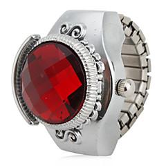preiswerte Damenuhren-Damen Quartz Ringuhr Japanisch Armbanduhren für den Alltag Legierung Band Retro Silber