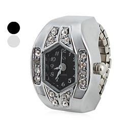 preiswerte Damenuhren-Damen Quartz Ringuhr Japanisch Imitation Diamant Band Glanz Silber