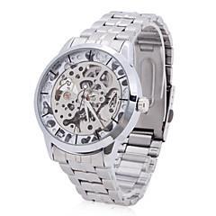 WINNER Męskie Szkieletowy zegarek mechaniczny Nakręcanie automatyczne Grawerowane Stal nierdzewna Pasmo Ekskluzywne Srebro Silver