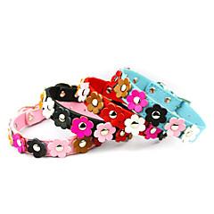 お買い得  犬用首輪/リード/ハーネス-ネコ 犬 カラー 調整可能 / 引き込み式 フラワー PUレザー ブラック レッド ブルー ピンク