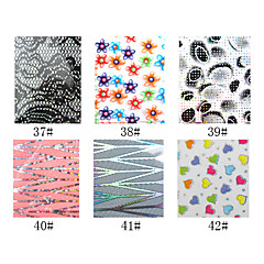 1PCS Laser Foil Nail Decorations Starry Nail Stickers No.37-42(130x4.5x0.1cm,Assorted Colors)