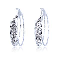 tanie Kolczyki koła-Kolczyki koła Kryształ Posrebrzany Silver Biżuteria Na Impreza Codzienny Casual 2pcs