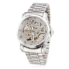 WINNER Ανδρικά Διάφανο Ρολόι μηχανικό ρολόι Αυτόματο κούρδισμα Εσωτερικού Μηχανισμού Ανοξείδωτο Ατσάλι Μπάντα Ασημί