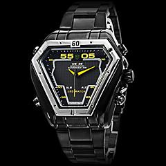 お買い得  Weide-WEIDE 男性用 軍用腕時計 リストウォッチ クォーツ 日本産クォーツ LED カレンダー クロノグラフ付き 耐水 2タイムゾーン アラーム ステンレス バンド ラグジュアリー ブラック