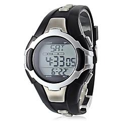 Męskie Sportowy Cyfrowe LCD Pulsometr Kalendarz Chronograf Wodoszczelny alarm Pasmo Czarny Black