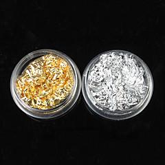 12PCS 2 cores Ouro e Prata Folha Nail Art Decorações