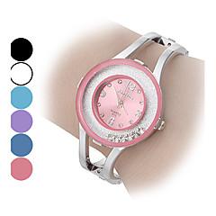 Dames Modieus horloge Armbandhorloge Zwevende kristallen horloge Kwarts imitatie Diamond Legering Band Glitter Bangle armband Zilver