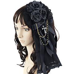 Korut Gothic Lolita Headwear Prinsessa Musta Lolita Tarvikkeet Headpiece Rusetti varten Pitsi Satiini Keinotekoiset korukiveet
