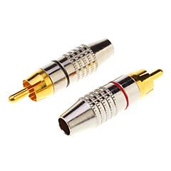 preiswerte Kabel & Adapter-1 paar cinch-stecker audio kabel stecker gold adapter in der schraube, freies schweißen