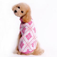 お買い得  犬用ウェア&アクセサリー-犬 セーター 犬用ウェア 格子柄 ブルー ピンク コスチューム ペット用