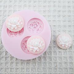 케이크를위한 3D 세 구멍 꽃 실리콘 형 퐁당 금형 설탕 공예 도구 초콜릿 형