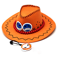 Pălărie/Șapcă Inspirat de One Piece Portgas D. Ace Anime Accesorii Cosplay Șapcă / Pălărie Oranj PU Piele Bărbătesc